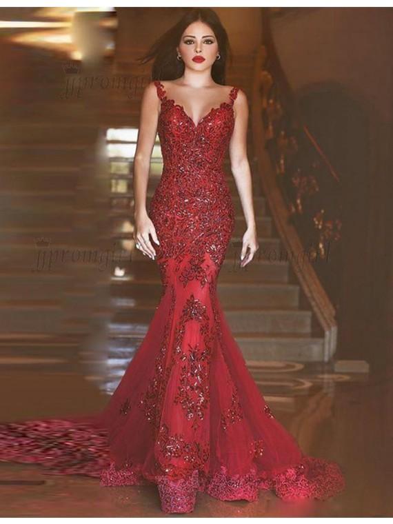 Burgundy prom dress with beadings