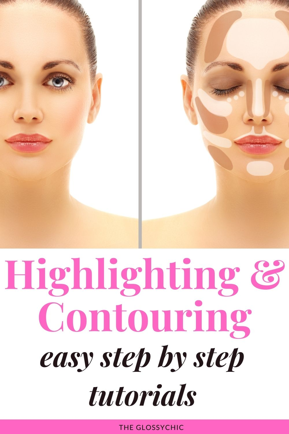 contouring and highlighting, easy step by step tutorials