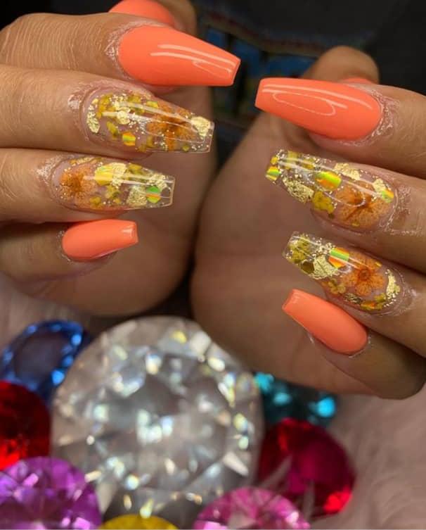 orange nail design