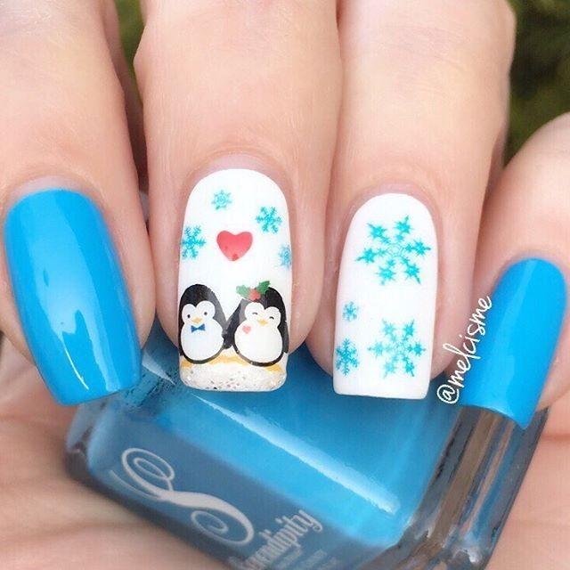 holiday penguin nails