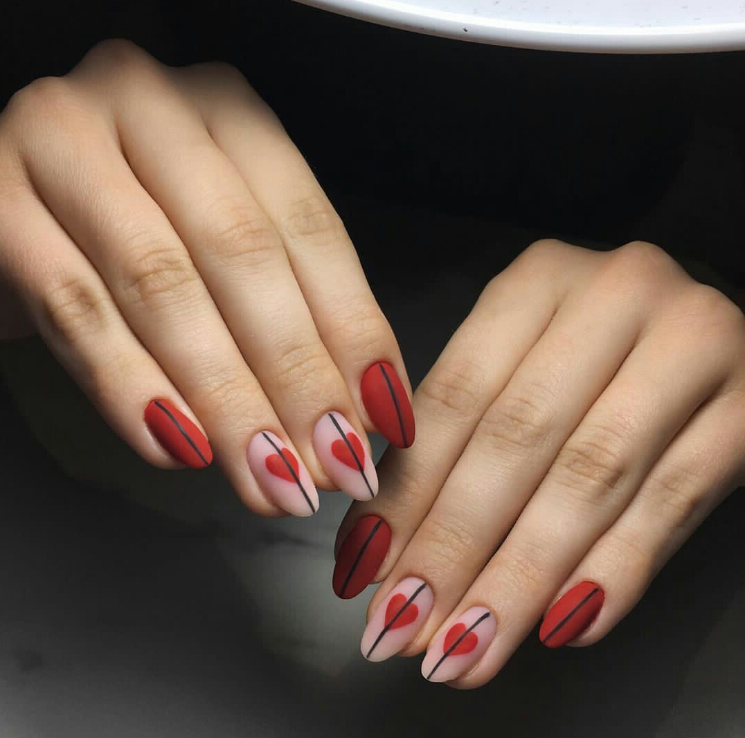 red nail designs for valentine