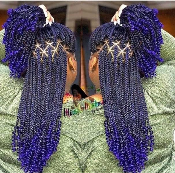 blue hair braidstyles
