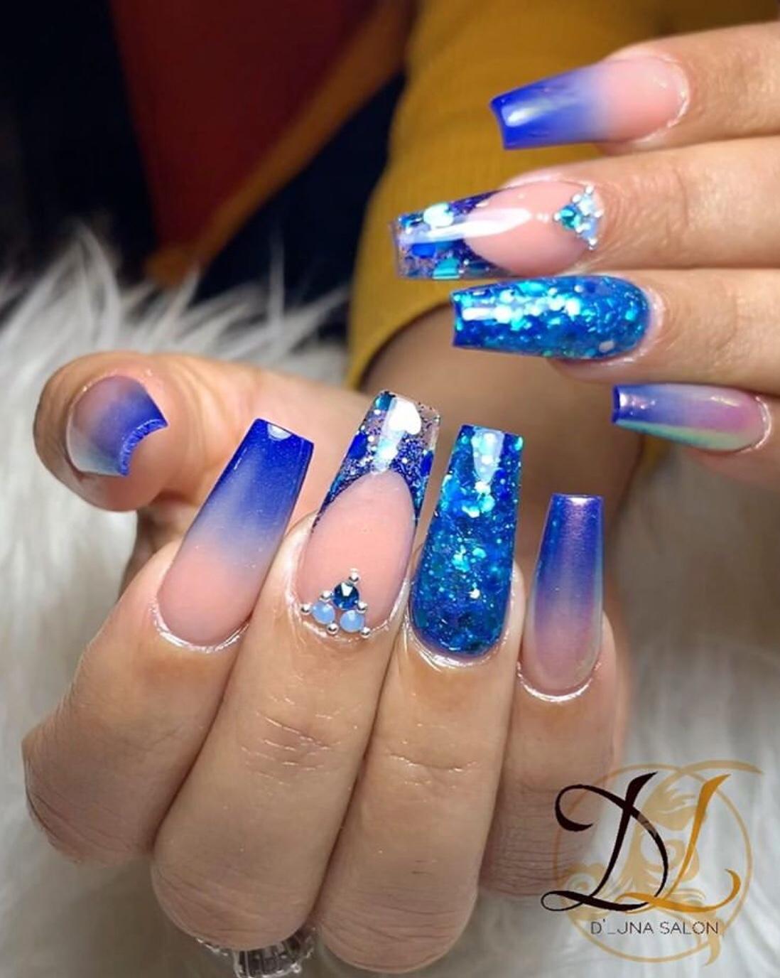 ombre blue nail designs