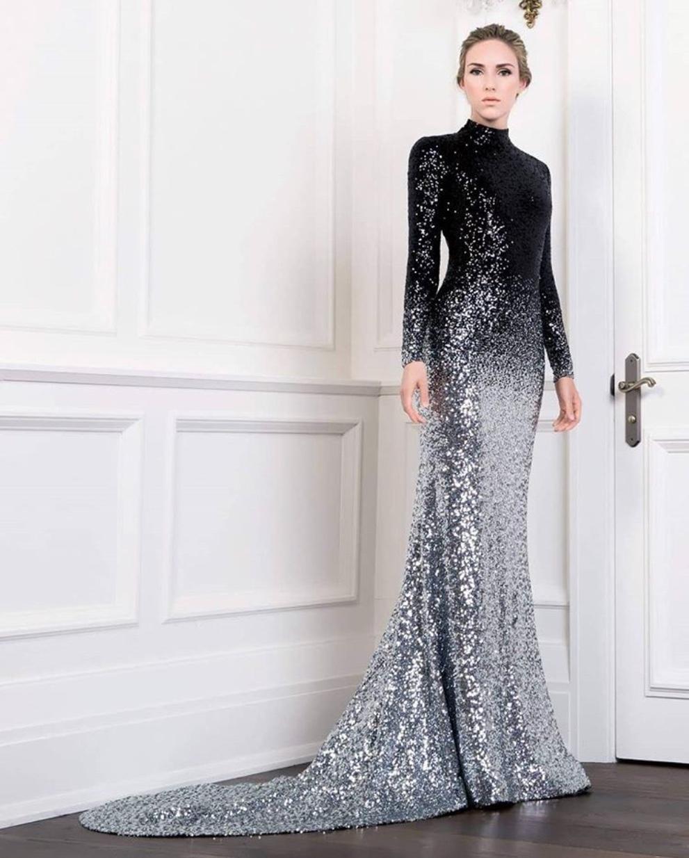 ombre evening dress
