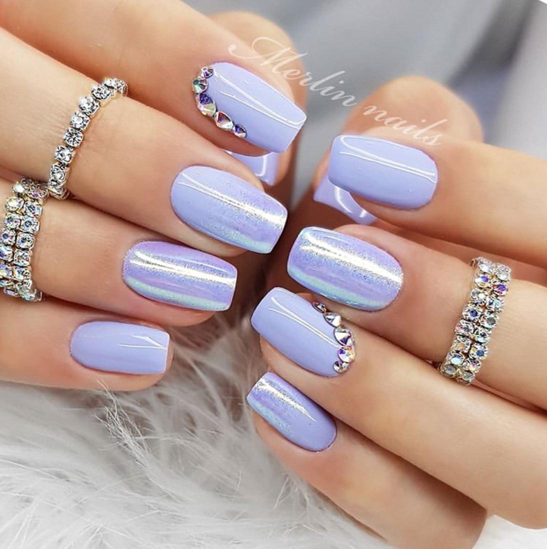 blue wedding nail ideas