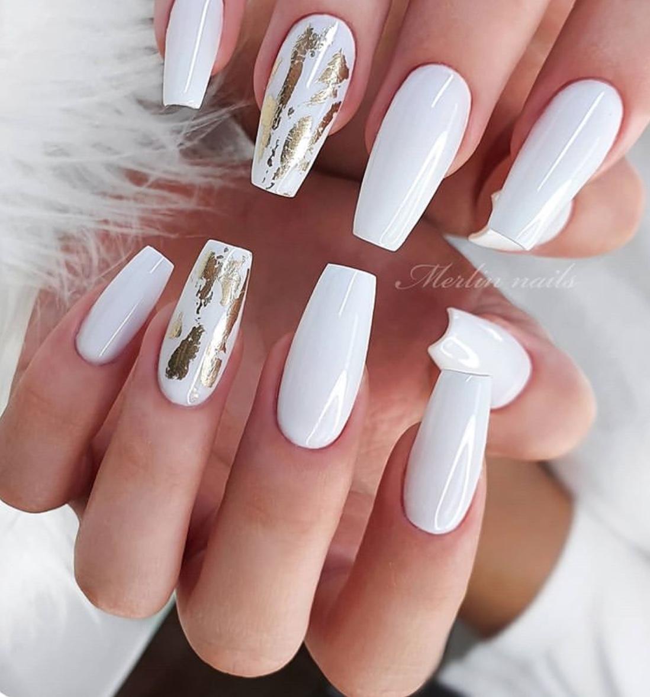 white wedding nails