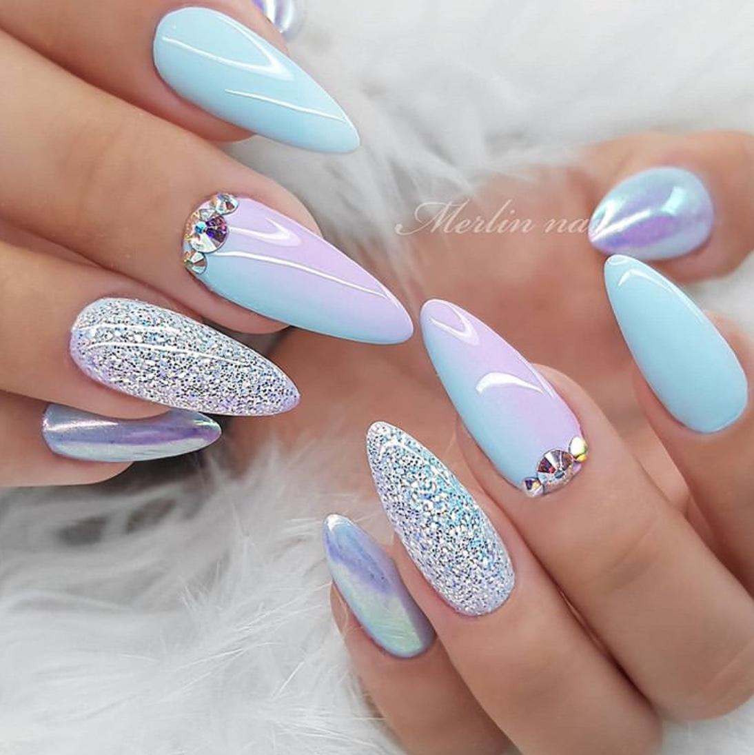 blue wedding nails