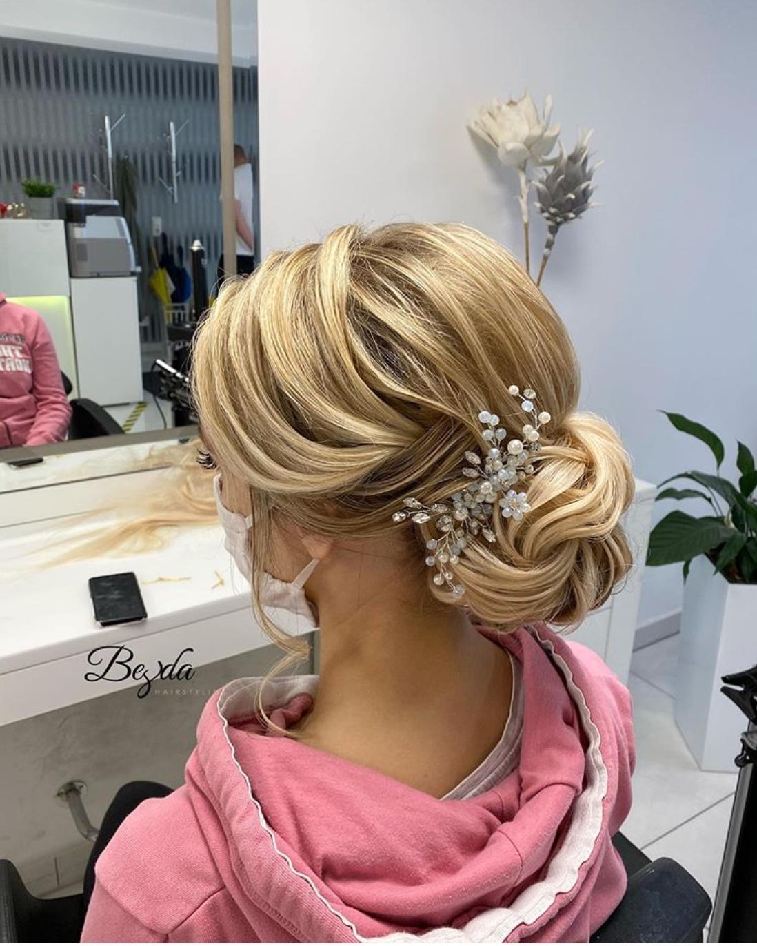 swept back wedding hairstyle