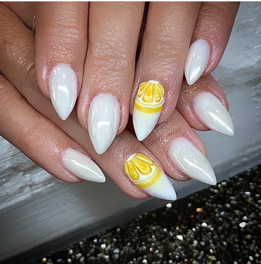 white chrome nail design