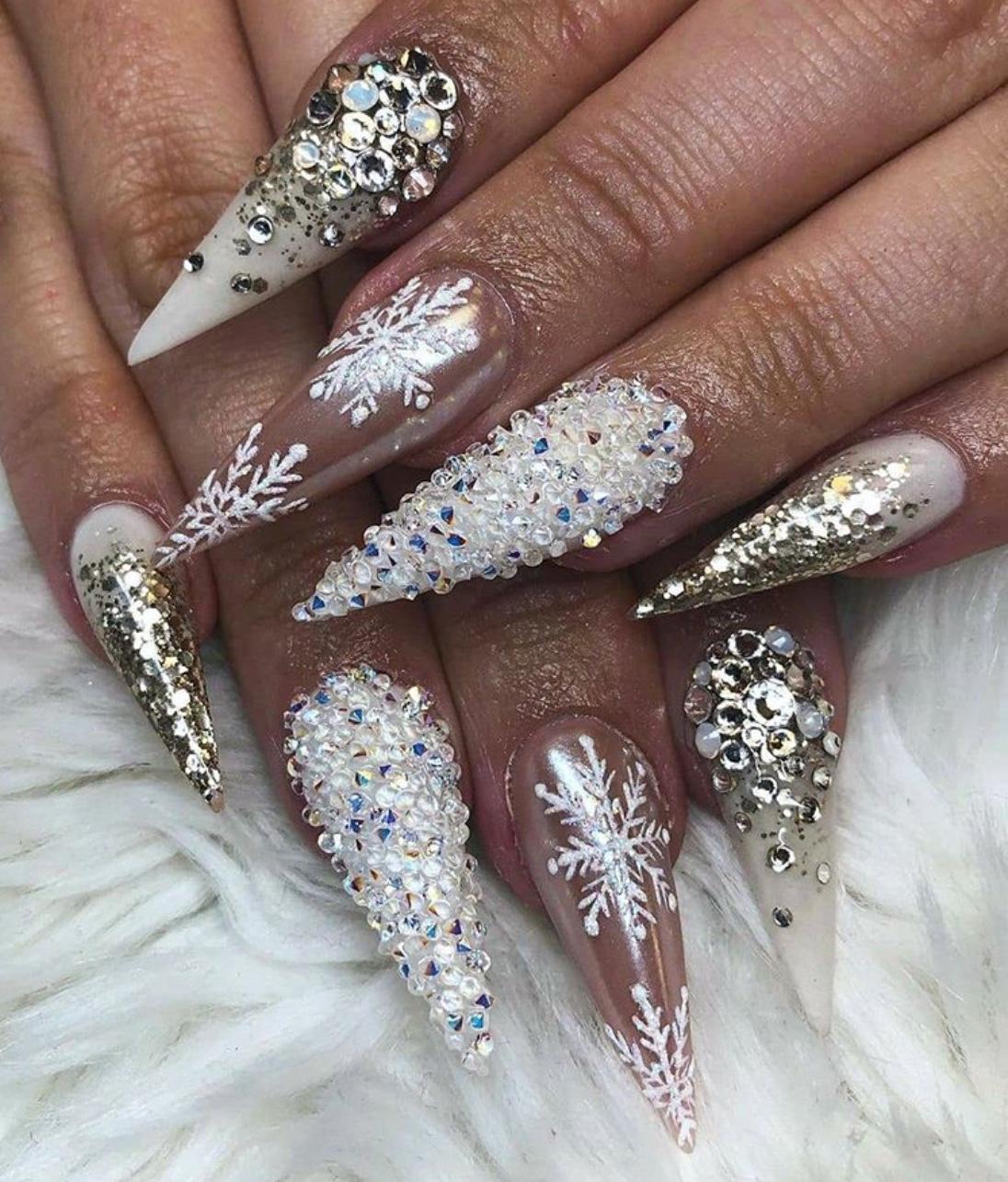 2020 Christmas glitter nails