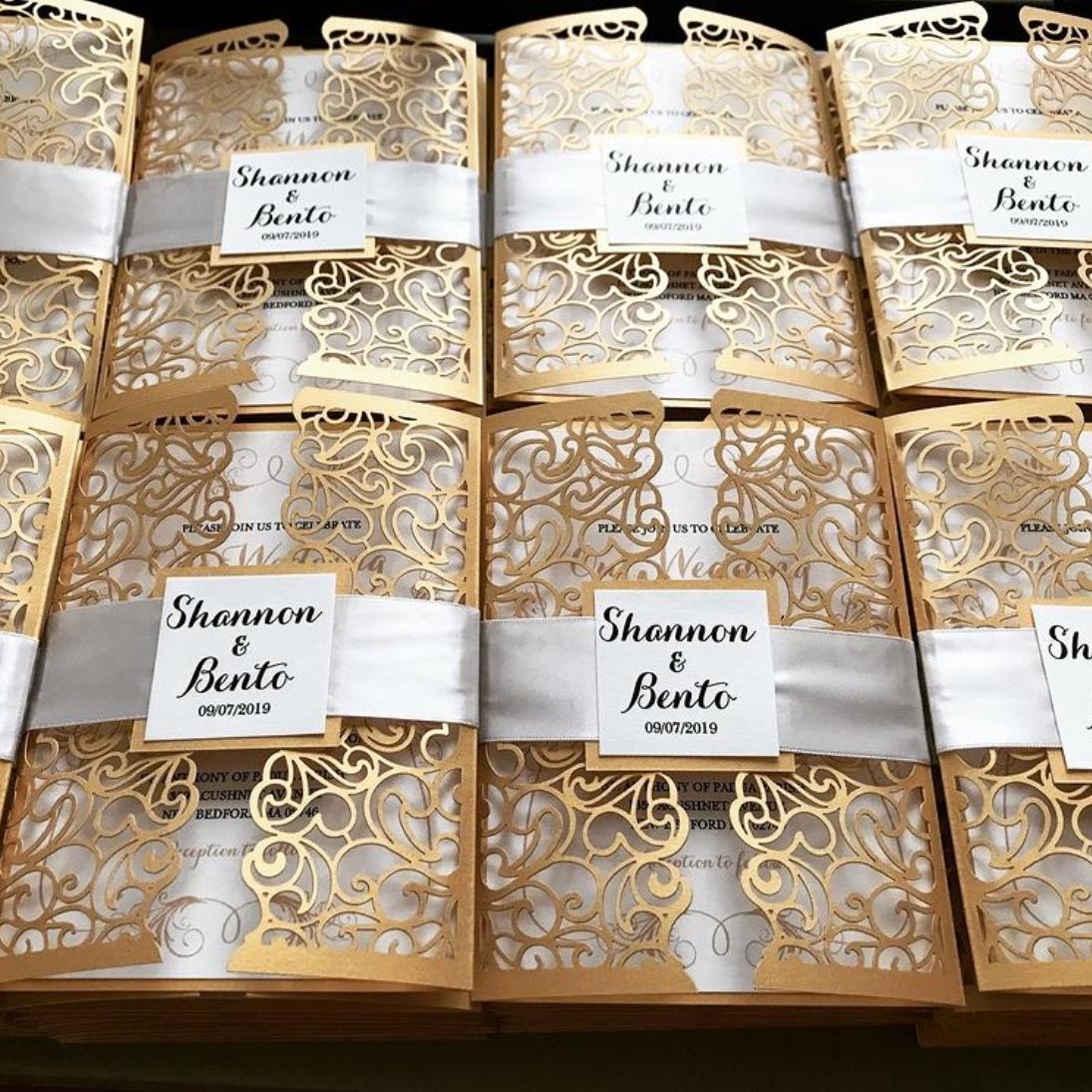 gold wedding invitation set