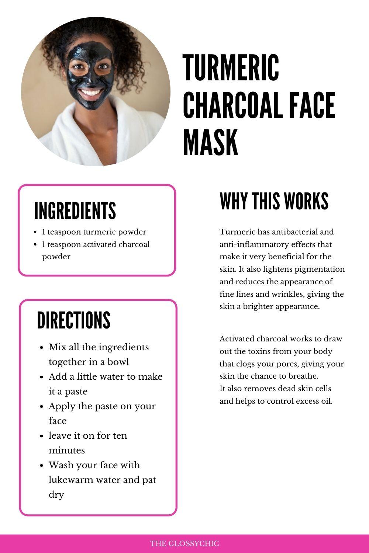 homemade Turmeric Charcoal Face mask