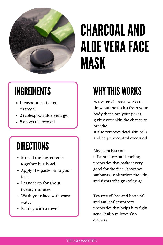 Charcoal and aloe vera face mask