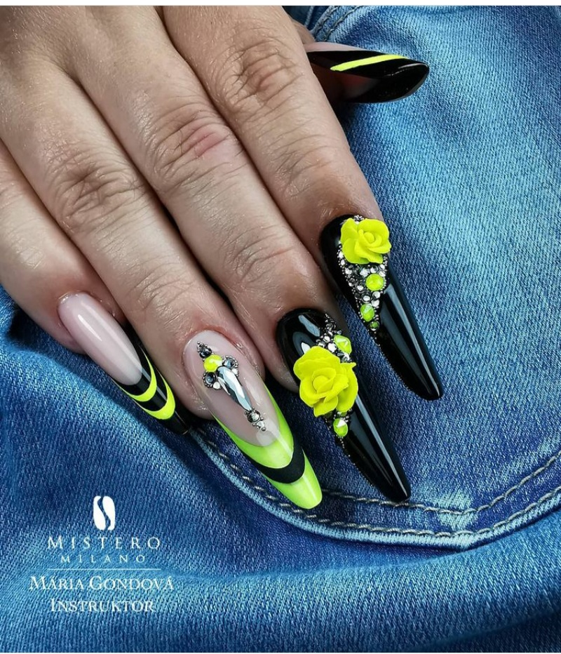 nail designs with black