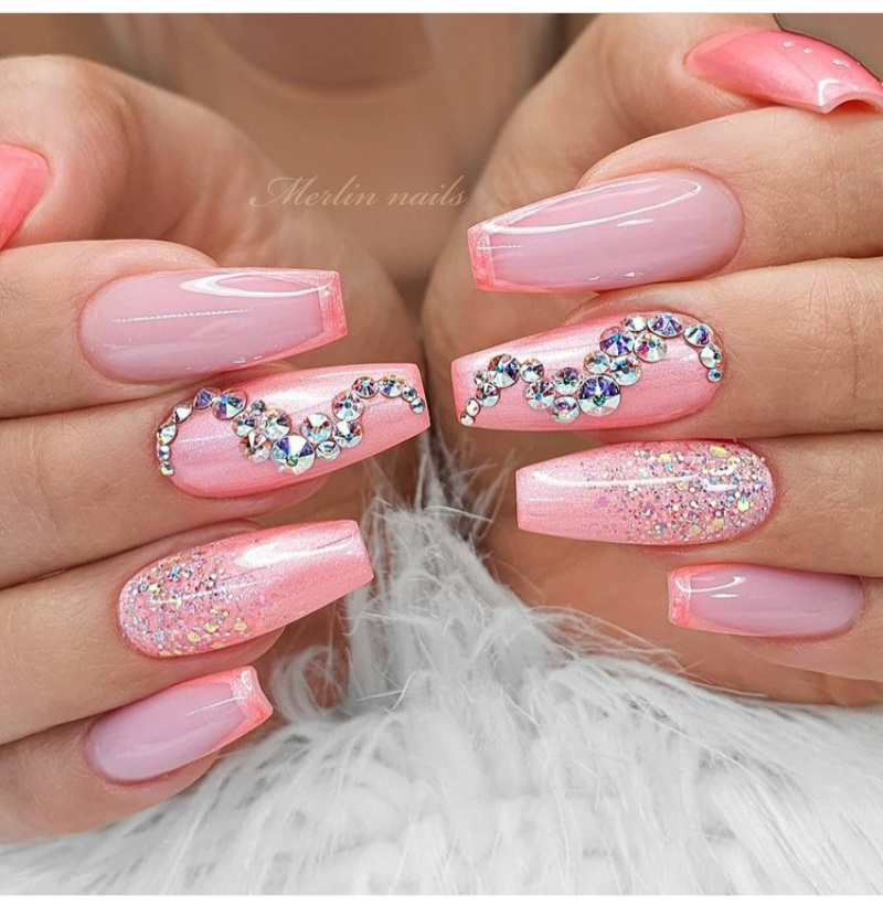pink ombre nail designs