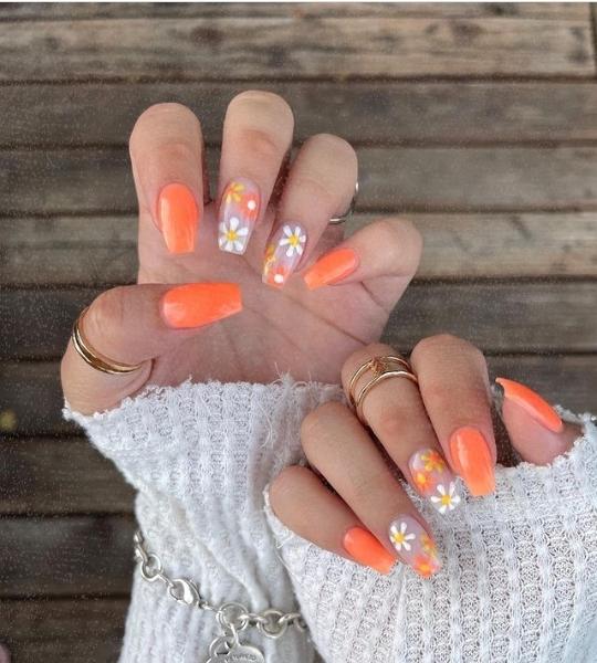 orange-colored nail designs