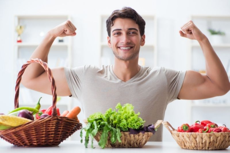 young man, healthy eating