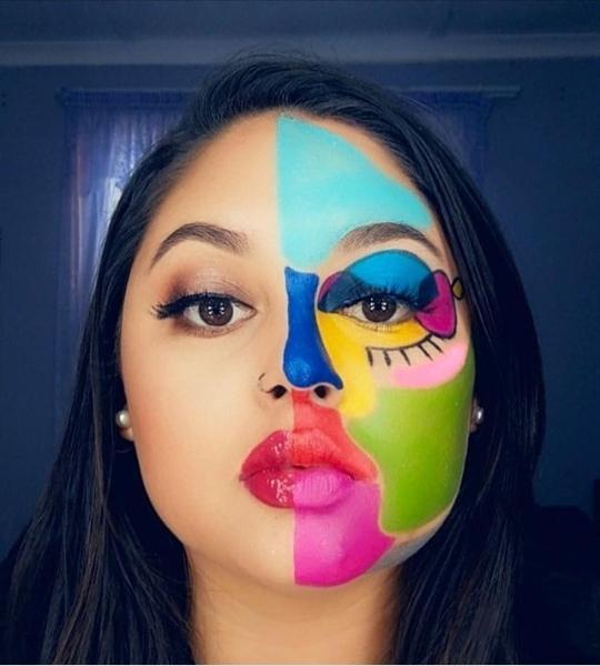 half face makeup for Halloween