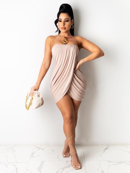 woman wearing strapless pleated dress